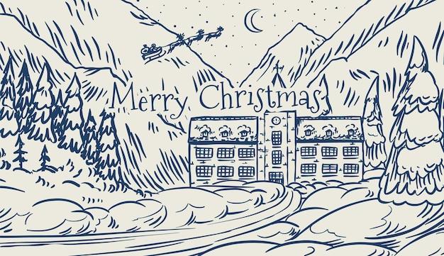 산과 눈이 겨울 풍경. 전나무 나무와 성 크리스마스 숲입니다. 산타 클로스
