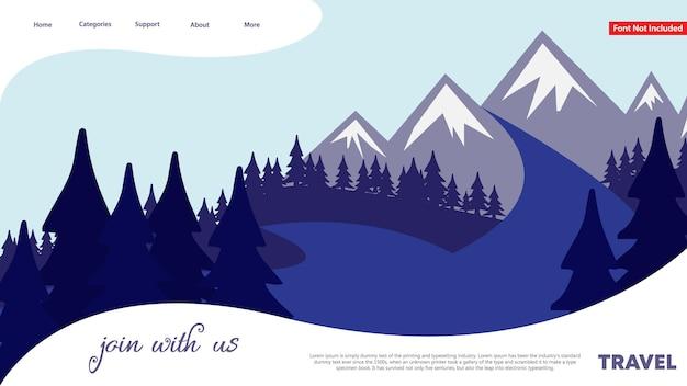 Webページのデザインの山と雪の冬の風景ベクトルイラスト