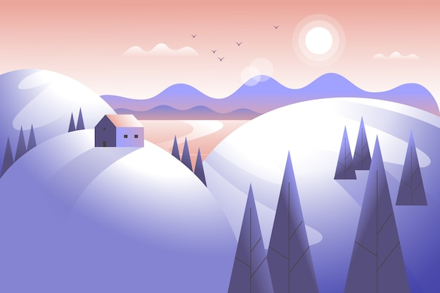 山と木々のある冬景色