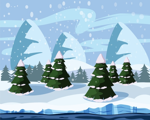 Winter landscape with mountains, trees, river, cartoon style, vector illustration