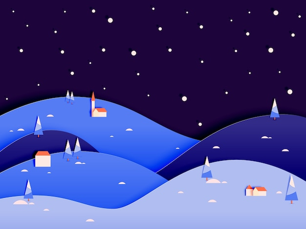 Зимний пейзаж с бумажным стилем искусства и пастельной цветовой гамме векторных иллюстраций