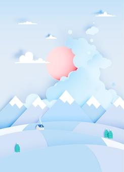 紙アートスタイルとパステルカラースキームのベクトル図と冬の風景
