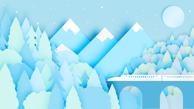 Winter landscape with paper art style and pastel color scheme