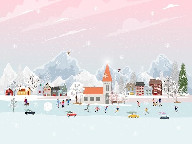 Зимний пейзаж с людьми, весело проводящими мероприятия на свежем воздухе