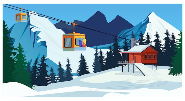 Winter landscape with ropeway station and ski cable cars