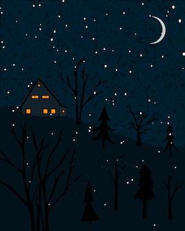 Зимний пейзаж с домиком в лесу. ночная сцена с падающим снегом и одинокими деревьями.