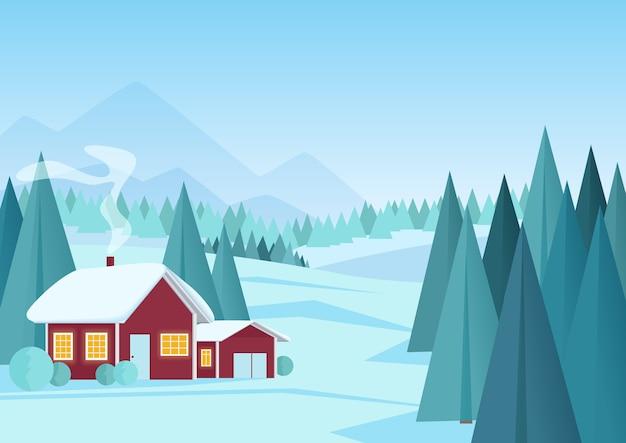 Зимний пейзаж с небольшим красным домиком в сосновом лесу. мультяшный зимний пейзаж