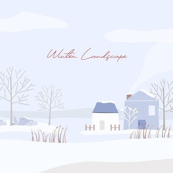 Winter landscape with snow-covered house