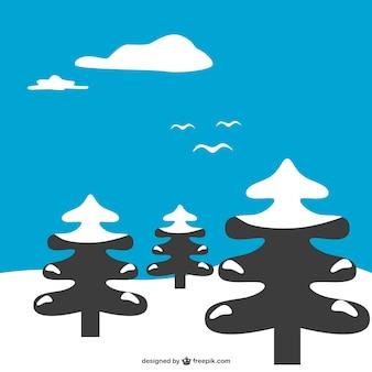 Vettore paesaggio invernale