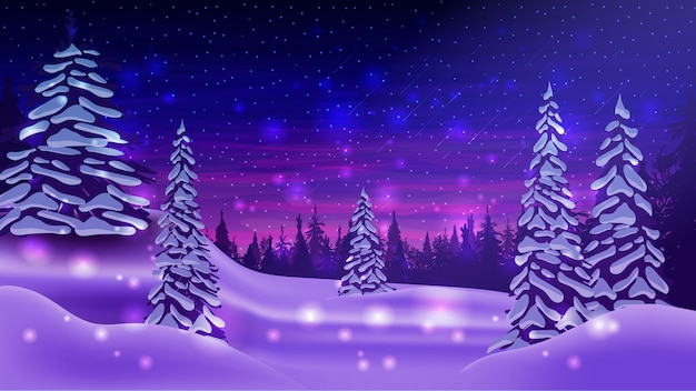 Winter landscape with snow-covered pines, snowdrifts, blue and purple starry sky and pine forest on horizon