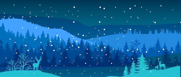 雪、鹿のシルエット、川、森の輪郭、丘のある冬の風景。クリスマスの背景