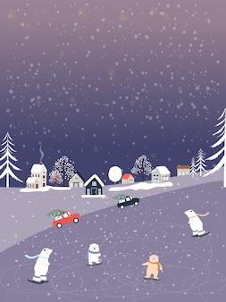 Зимний пейзаж со снегопадом, белый медведь играет на коньках
