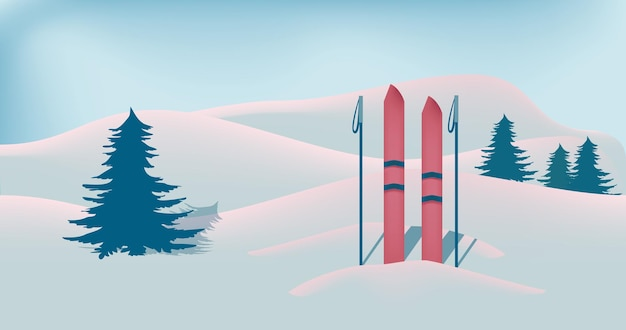 Winter landscape with snow fir trees and skies horizontal banner