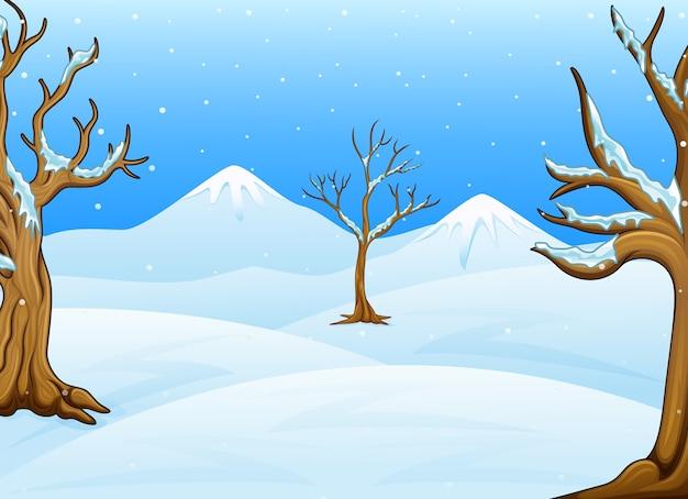 Зимний пейзаж со снежными холмами и горами