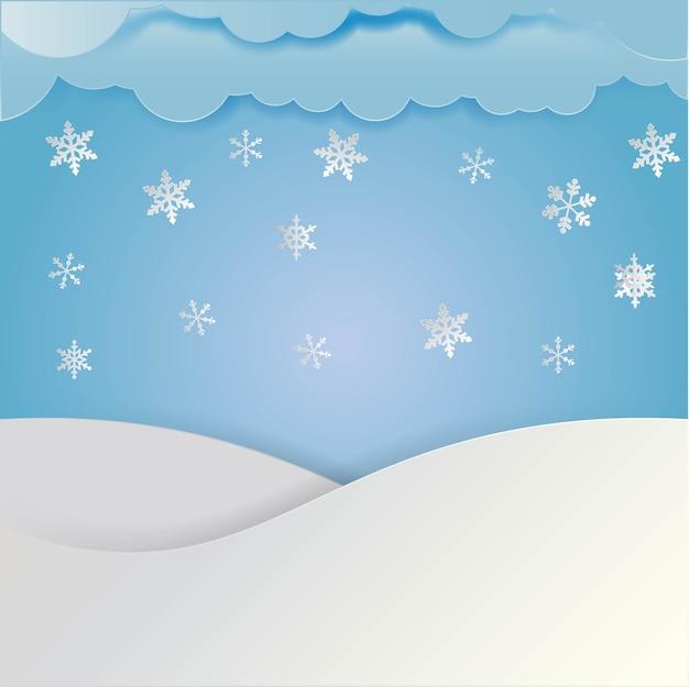雪片、ペーパーカットスタイルの冬の風景。
