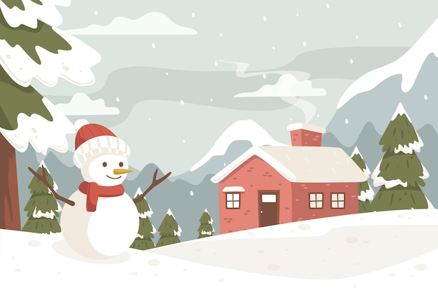 Winter landscape with snowman in vintage colors Premium Vector