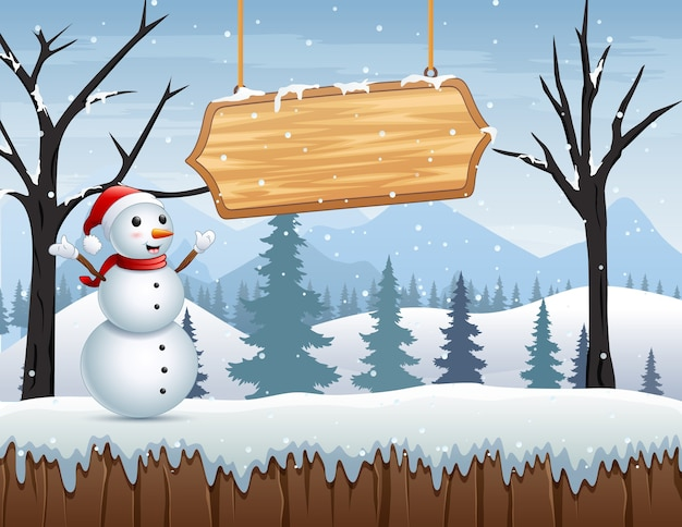 Winter landscape with a snowman and wooden sign