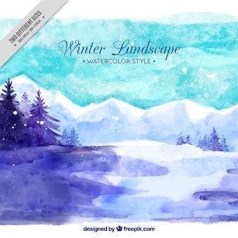 Зимний пейзаж с акварельными снежные горы