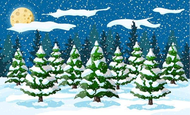 夜の雪の丘の上の白い松の木のある冬景色。モミの木の森と雪のクリスマス風景。明けましておめでとうございます。新年のクリスマス休暇。