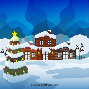 Winter landscape with wooden house and christmas tree