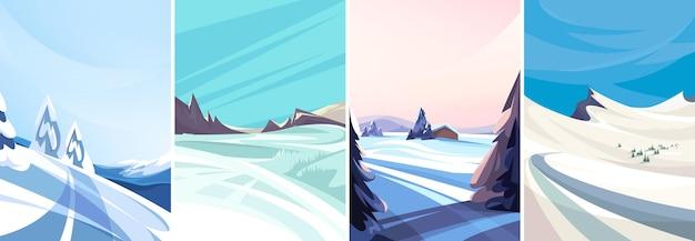 수직 방향의 겨울 풍경