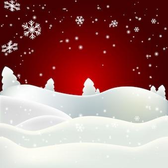 Зимний пейзаж на красном фоне
