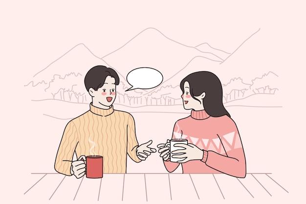 冬のレジャー活動とコミュニケーションの概念
