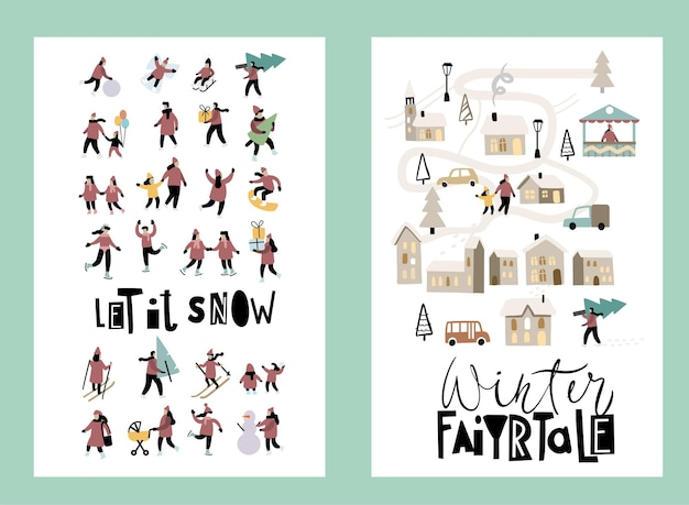 Winter leisure. vector various people. hand drawn vector set. merry christmas cards.