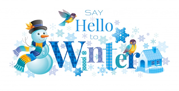 Зимний логотип с мультфильм снеговика, птицы и милый дом. поздравительная открытка абстрактный шаблон.