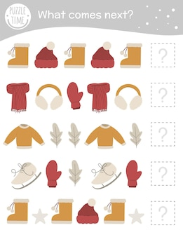 Winter matching activity for preschool children with clothes and objects.