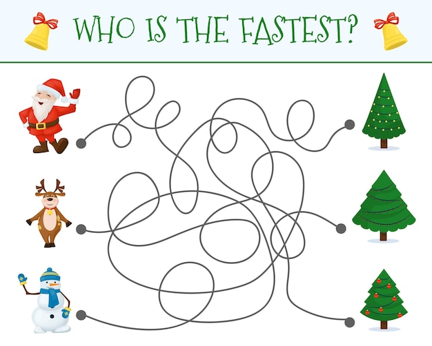 Winter maze for children. preschool christmas activity. worksheet home schooling labyrinth game.