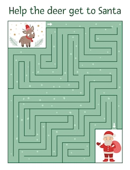 Winter maze for children. preschool christmas activity.
