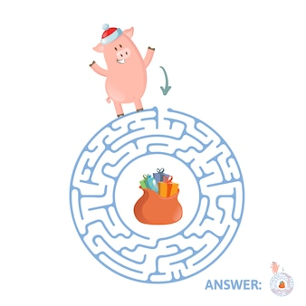 Winter maze game. labyrinth with funny piggy character and answer.   illustration.  on white background.