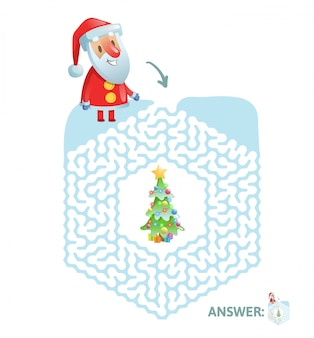 Winter maze game. labyrinth with funny santa character and answer.   illustration.  on white background.