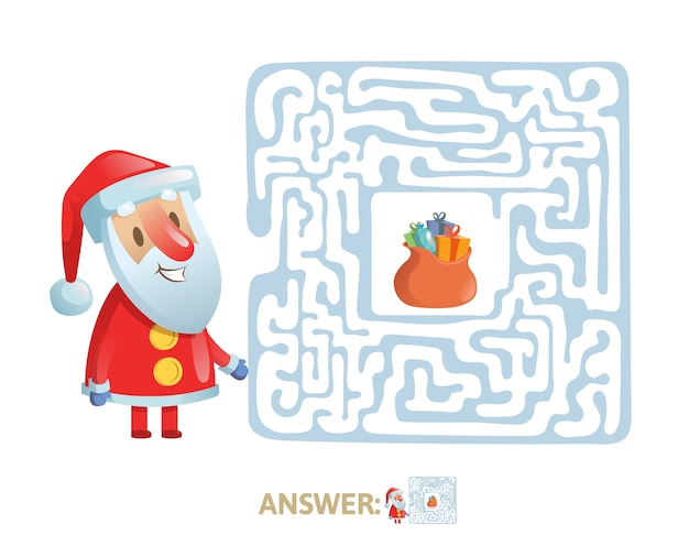 Winter maze labyrinth game with answer. help santa find the way out of the labyrinth.