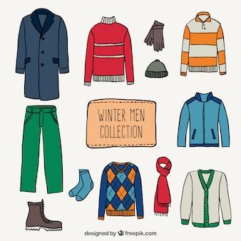 Зима мужчины коллекция Бесплатные векторы