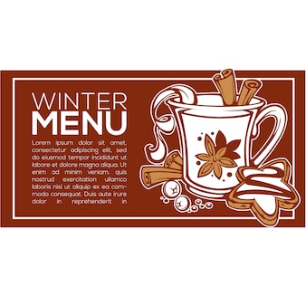 Winter menu,  background with image of spicy hot wine