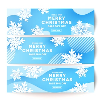 Winter minimalism fluid liquid wave banner shape set with white snowflake and shadow shape