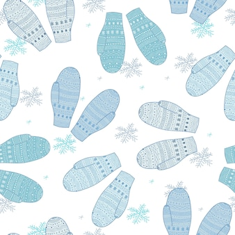 Winter mittens. seamless pattern. warm outerwear. blue and white color. winter background. christmas design. hand drawn style.