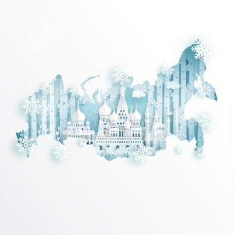 Winter in moscow, russia with map concept for travel and tour advertising concept