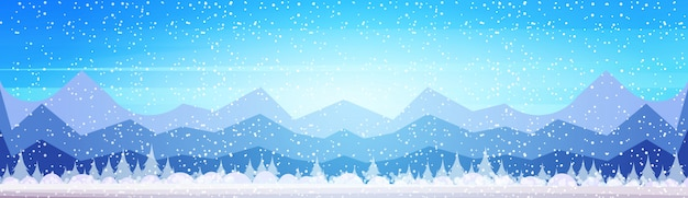 Winter mountain forest landscape background pine snow trees woods flat banner