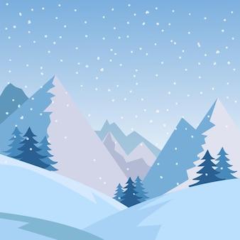 森と雪に覆われたフィールドフラットデザインと冬の山の風景の背景