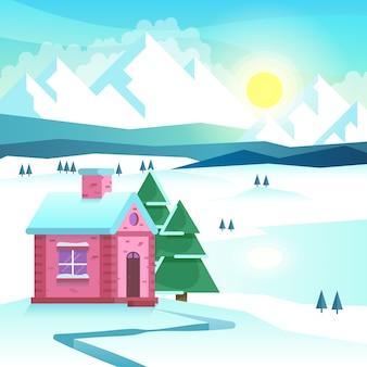 冬の山の風景。自然の屋外、雪と寒さ、季節の旅行。ベクトルイラスト