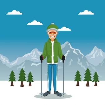 Плакат с зимним горным пейзажем с челноком с оборудованием
