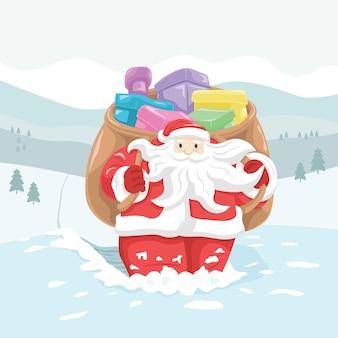 Зимний горный пейзаж гуляет санта-клаус с его сумкой, полной подарков в глубоком снегу