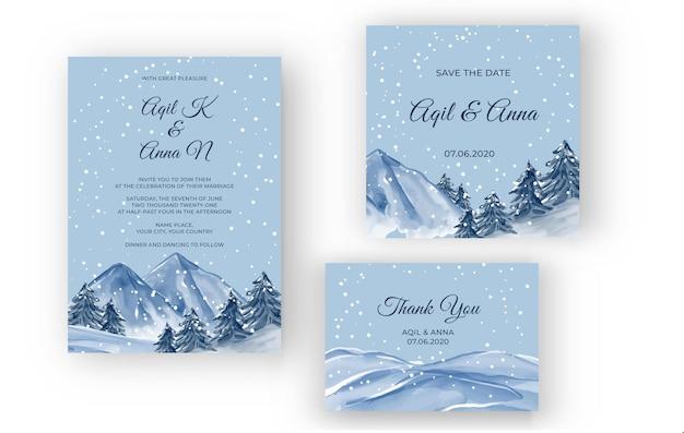 Зимний горный пейзаж акварель свадебное приглашение