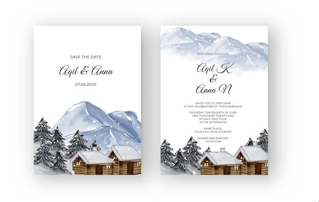 Зимний горный пейзаж с домом акварель свадебное приглашение