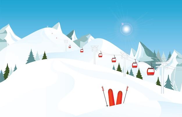 雪とスキーのリフトでスキーのペアと冬の山の風景。