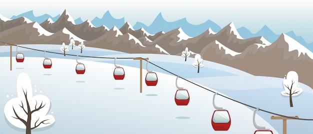 스키와 겨울 산 풍경 슬로프에 리프트. 스키 리조트. 평면 그림.