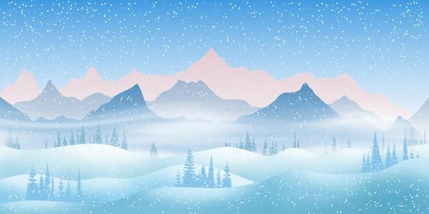 Зимний горный пейзаж со сугробами и деревьями